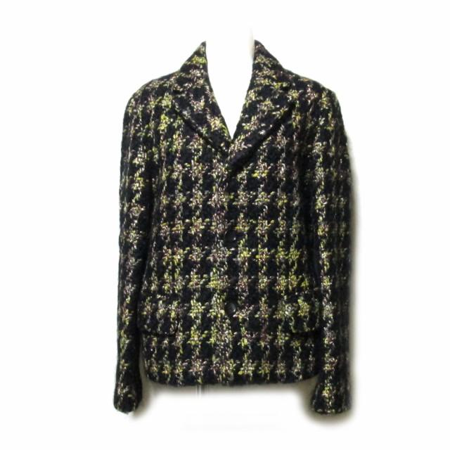 美品 tricot COMME des GARCONS トリコ コムデギャルソン 「S」 2001 クラシックツイードジャケット (黒 金 チェック) 111307 【中古】
