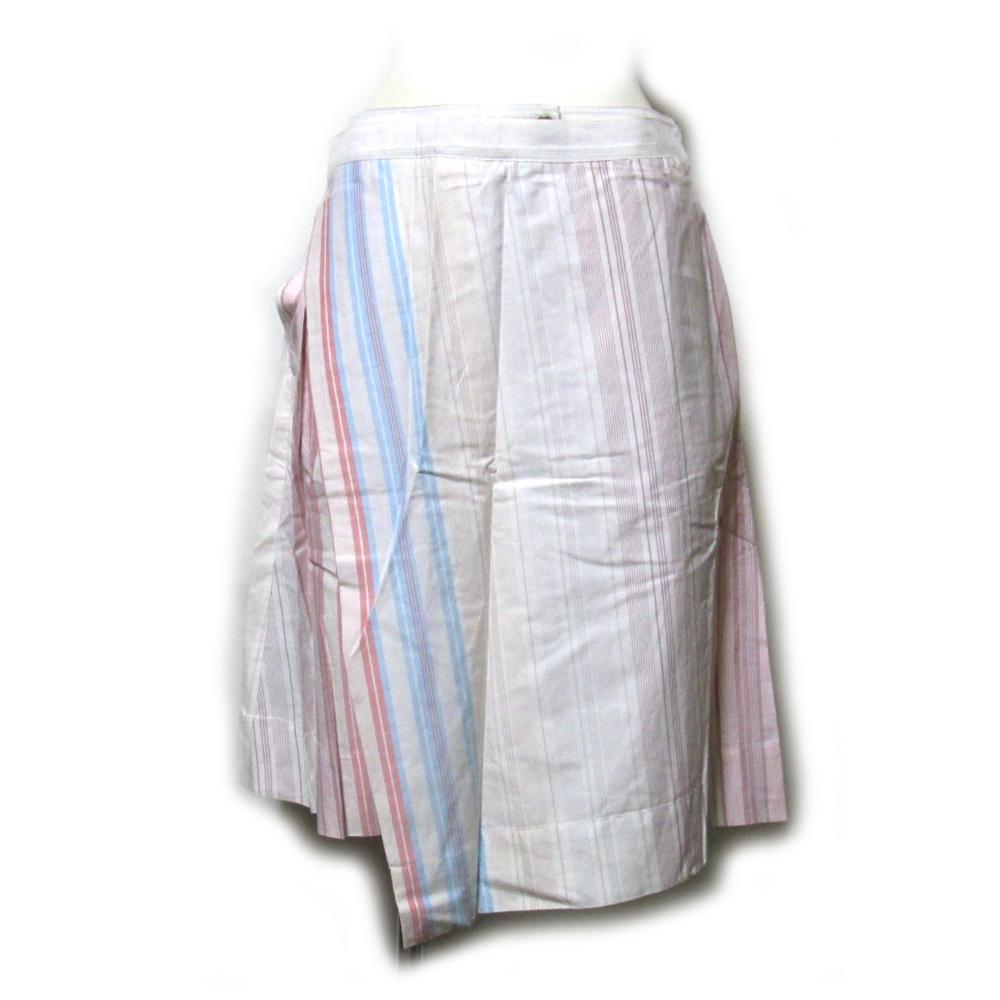 babb5f5e06990 Vivienne Westwood RED LABEL ヴィヴィアンウエストウッド レッドレーベル 「42」 イタリア製 変形キュロットラップスカート  (ストライプ 巻き 未使用 タグ付き) ...
