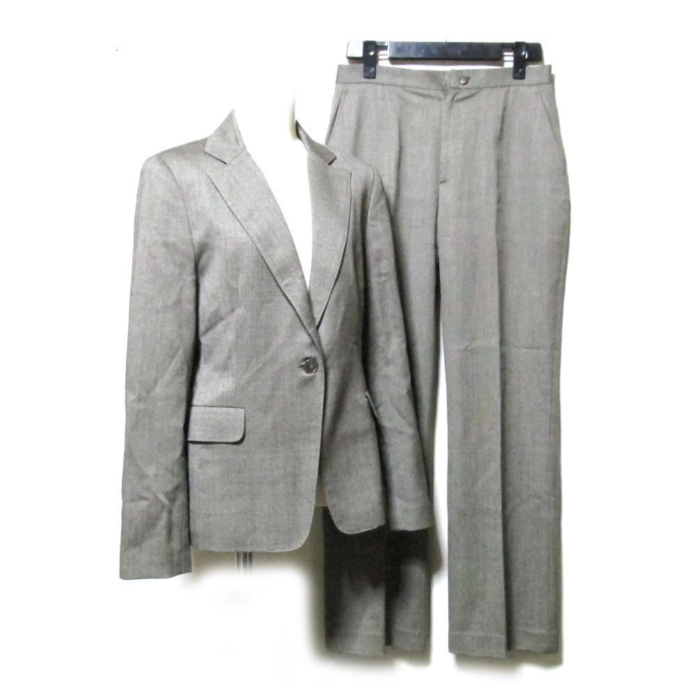 Aquascutum アクアスキュータム 定番セットアップスーツ (茶色 ブラウン パンツ イギリス 伝統) 111859 【中古】