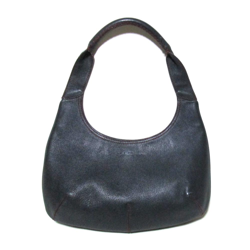 Salvatore Ferragamo サルヴァトーレフェラガモ イタリア製 レザージャッキーバッグ (黒 革 皮 鞄 ) 112499 【中古】