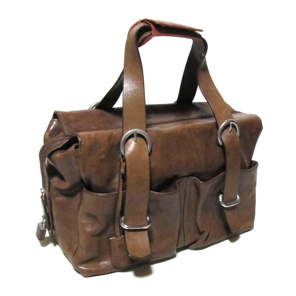 MAURO GOVERNA マウロゴヴェルナ イタリア製 レザーボストンバッグ (キャメル 茶色 革 皮 鞄 ショルダーバッグ ハンドバッグ) 112822 【中古】