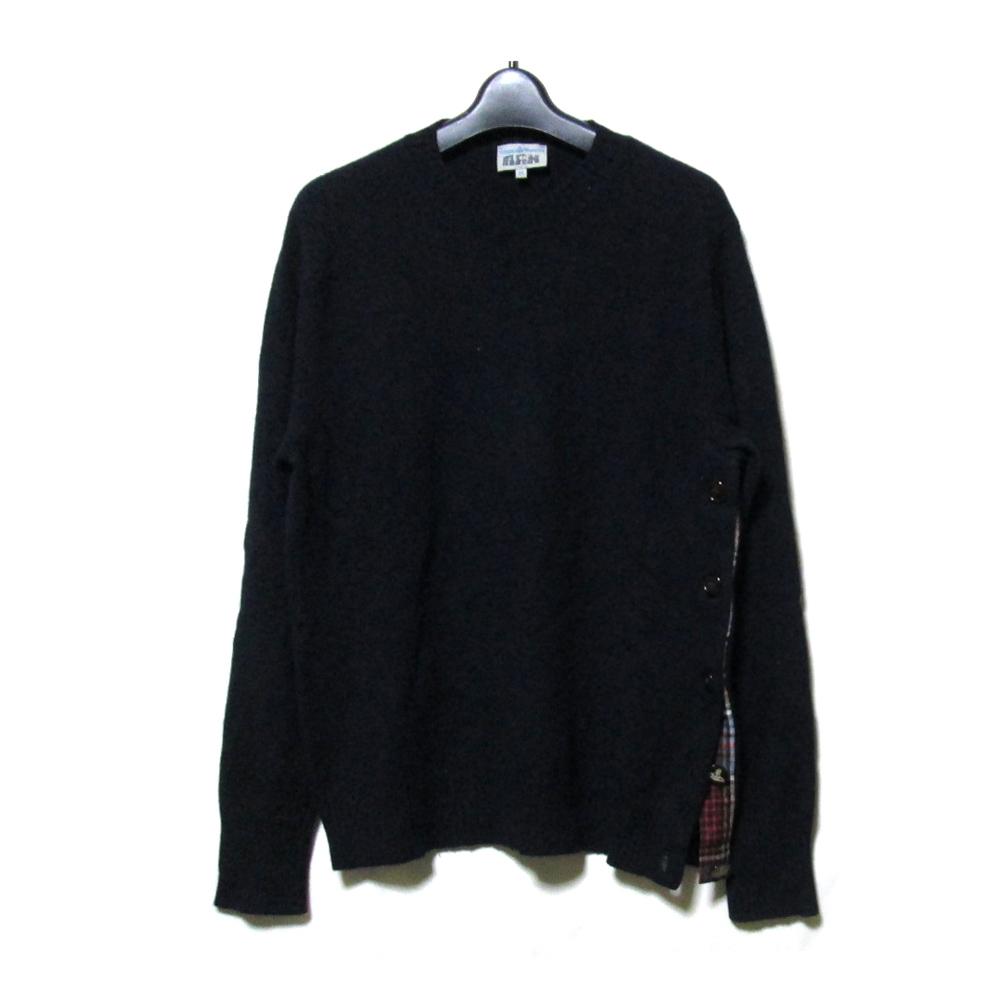 Vivienne Westwood MAN ヴィヴィアンウエストウッド マン 「46」 サイドスリットニットセーター (紺 ネイビー タータンチェック) 113030 【中古】