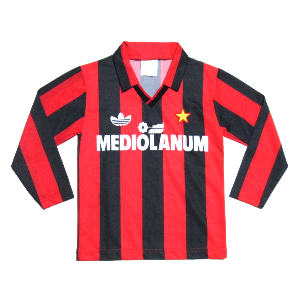 quality design 4e155 9a9dd Mediolanum kids game shirt (soccer jersey children's clothes long sleeves  three line AC Milan 1987-1991MADE IN ITALY) made in Vintage old adidas ...