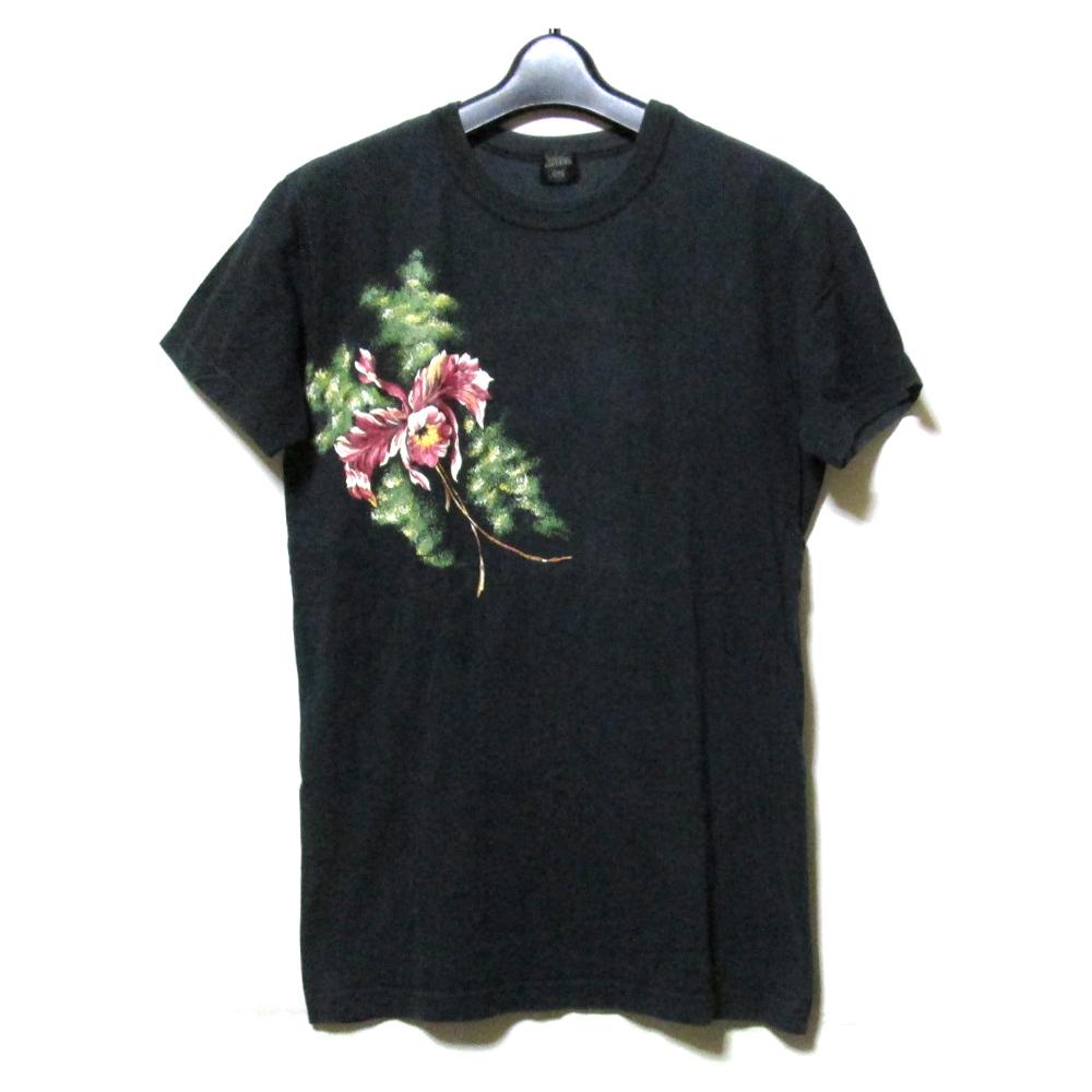 Jean Paul GAULTIER HOMME ジャンポールゴルチエ オム 「48」 フラワーペイントTシャツ (黒 ゴルチェ 花柄 半袖) 114394 【中古】