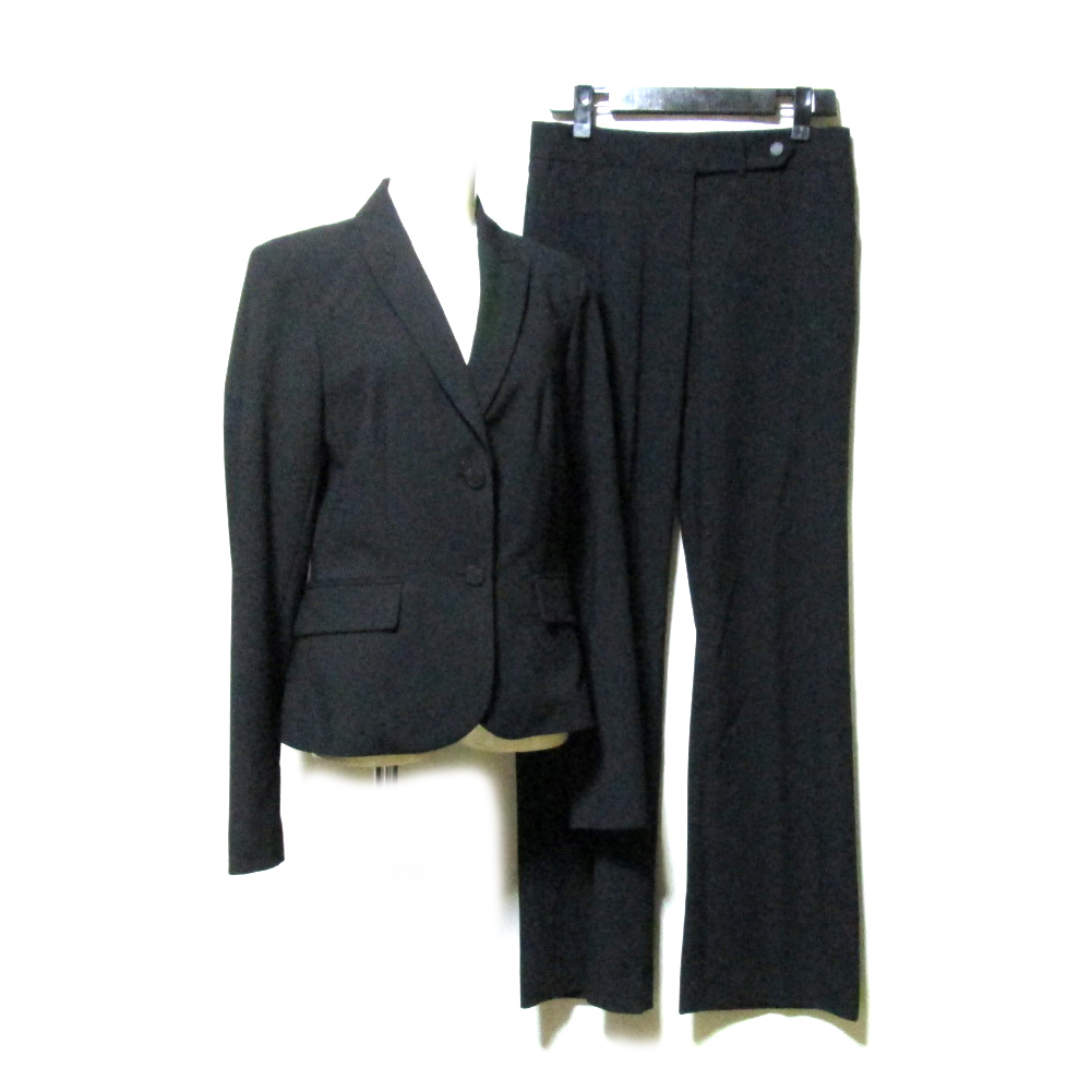 美品 Calvin Klein カルバンクライン 「2」 定番セットアップスーツ (黒 ギャバジン ブラック パンツ スラックス) 114514 【中古】