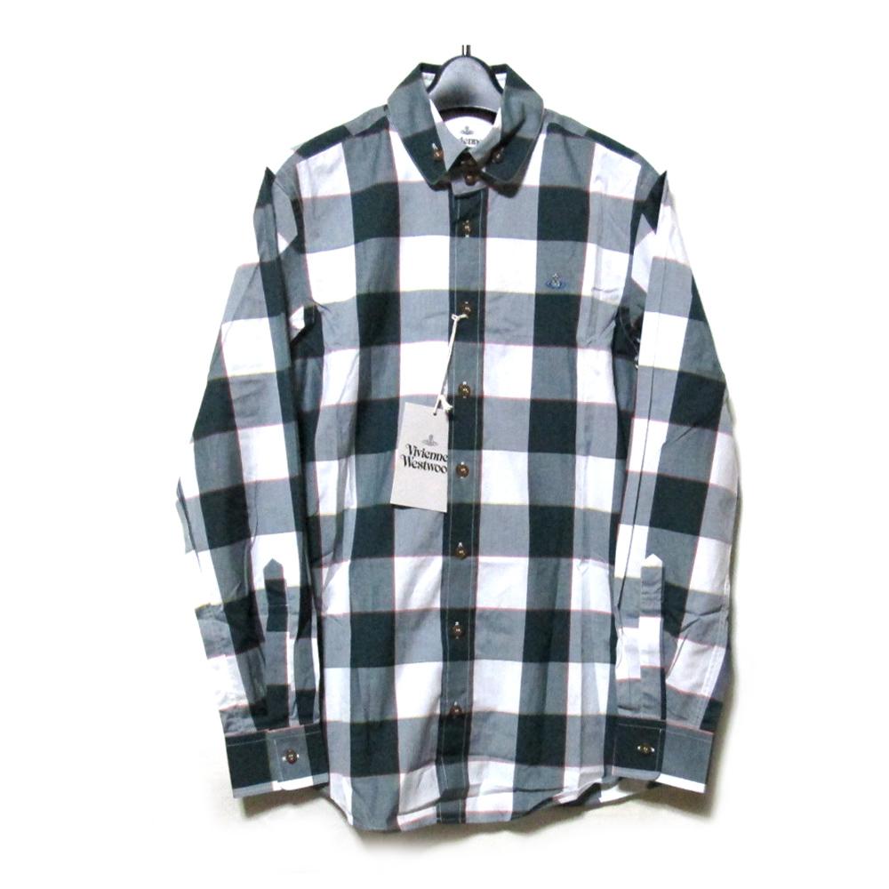 【新古品】 Vivienne Westwood MAN ヴィヴィアンウエストウッド マン 「44」 イタリア製 タータンチェック高襟ワンオーブシャツ (カッターシャツ ブラウス ORB ) 115306 【中古】