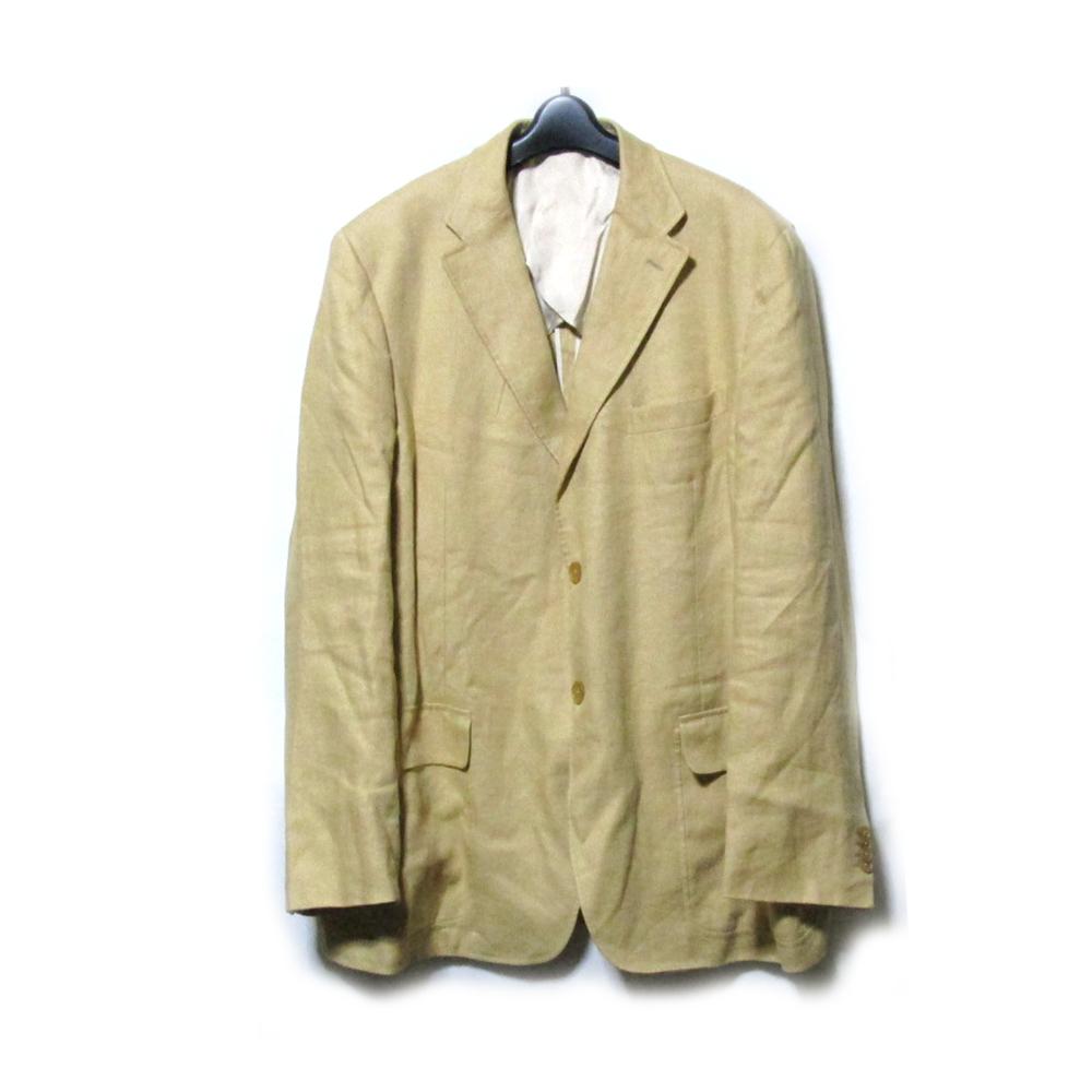 GIANFRANCO FERRE ジャンフランコフェレ 「58」 イタリア製 リネンジャケット (麻 ベージュ ロハス ブレザー) 115640 【中古】