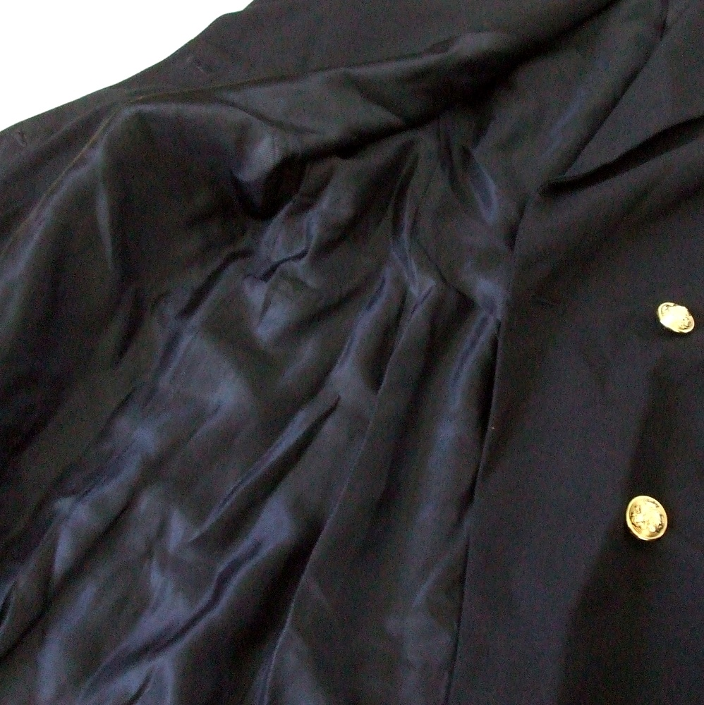buy popular 209d2 7926d ... ZARA Zara double breath blazer. Jacket (dark blue navy gold button  gabardine digin)