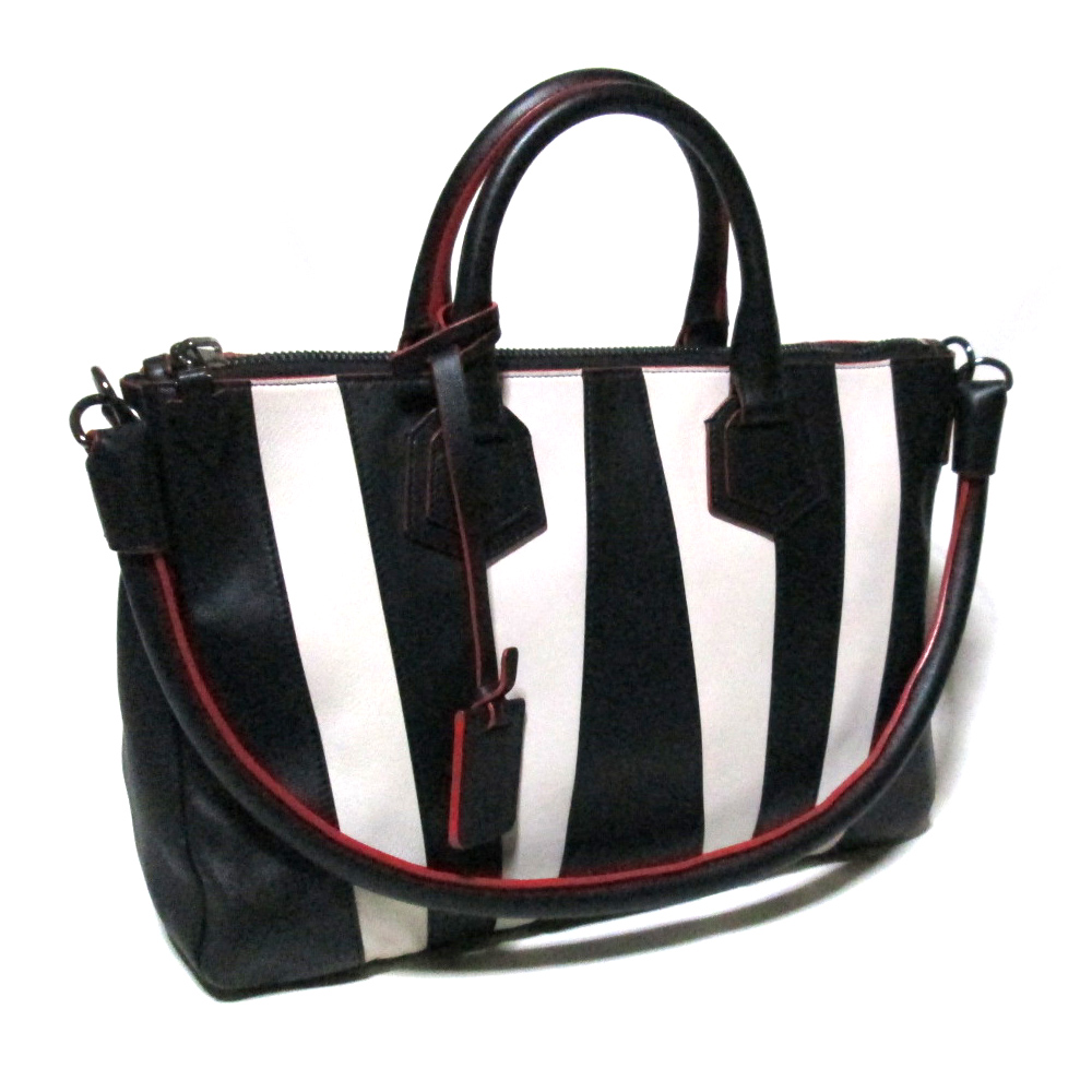 d20beaf78f94 CROWN STORE - USED BRAND CLOTHING STORE  Stripe leather Boston bag (bag  black and white shoulder bag) made in beautiful article ELENA GHISELLINI  エレナギゼ ...