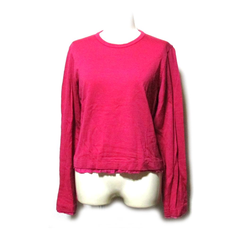 tricot COMME des GARCONS トリコ コムデギャルソン 2009 フリルレイヤードニットセーター (ピンク 製品染 カットソー) 116238 【中古】