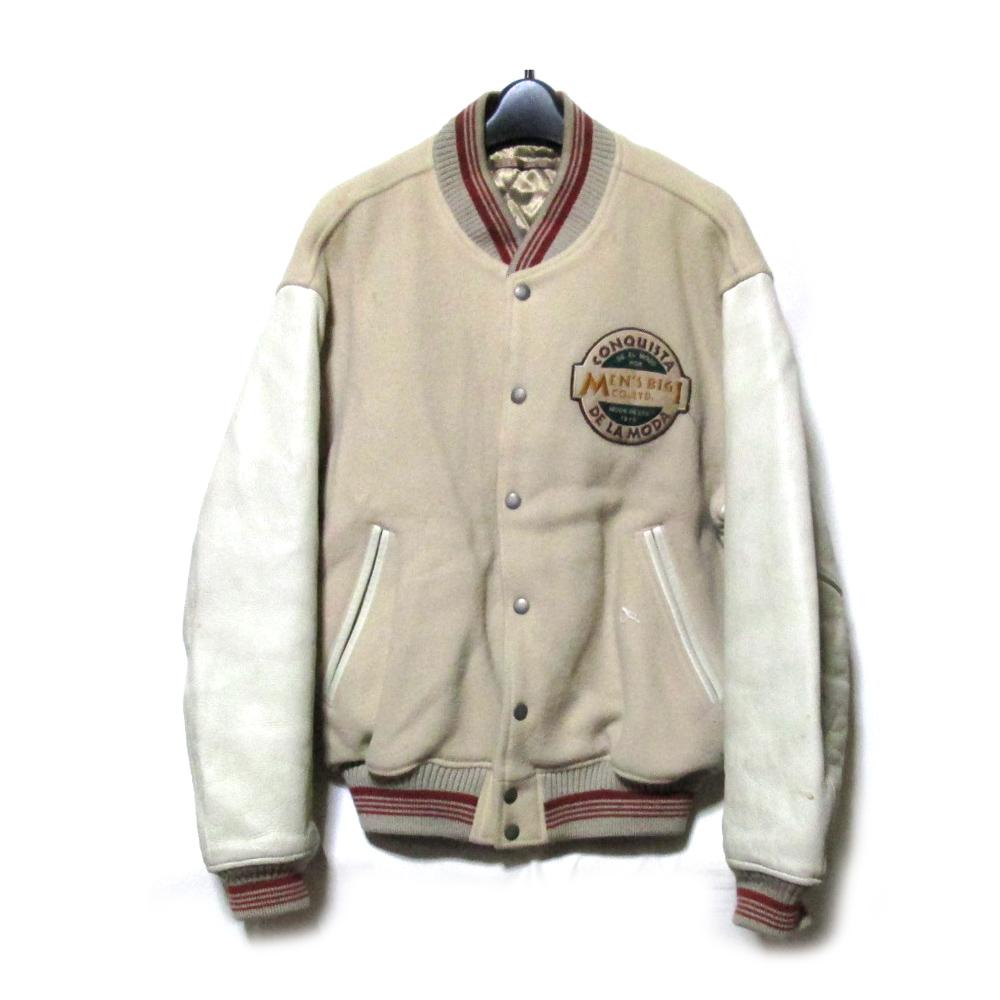 Vintage Men's BIGI ヴィンテージ オールド メンズ ビギ 「4」 袖レザースタジアムジャンパー (ジャケット スタジャン 皮 革 当時物) 116397 【中古】