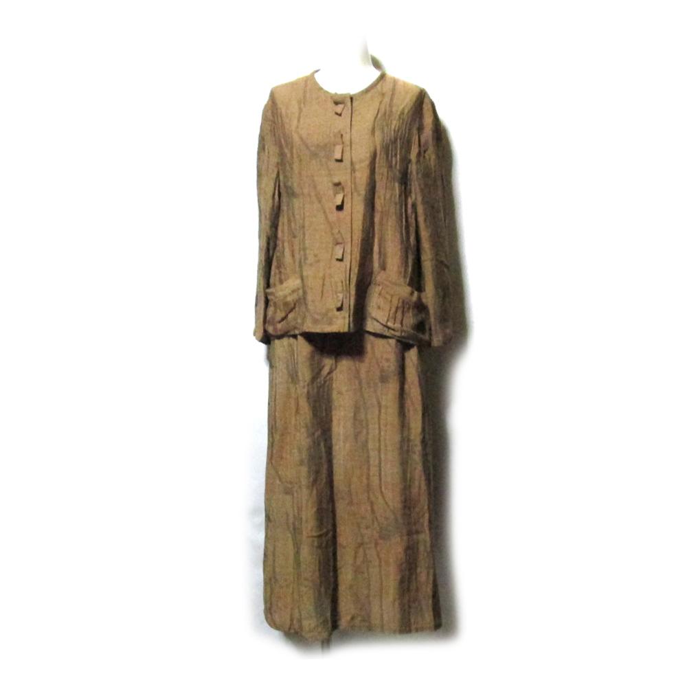 IZUMI MICHIKO いづみ みちこ 「9」 Linea Tessile Italiana リネンゴブランセットアップスーツ (茶色 ジャケット ロングスカート) 117376 【中古】