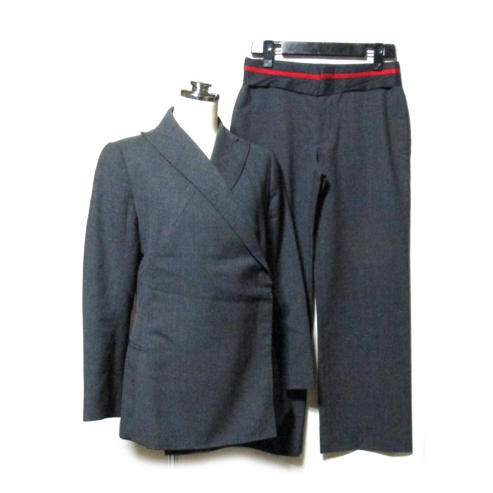 yuji yamada ユージヤマダ 「2」 ダブルブレスセットアップスーツ (グレー ギャバジン パンツ ジャケット 変形 デザイン 山田 裕二) 117378 【中古】