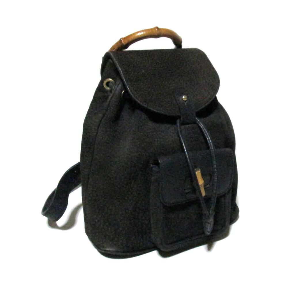 f8e0b455325c49 Vintage old GUCCI vintage old Gucci bamboo leather rucksack (black bag  backpack mini ruck vintage ...