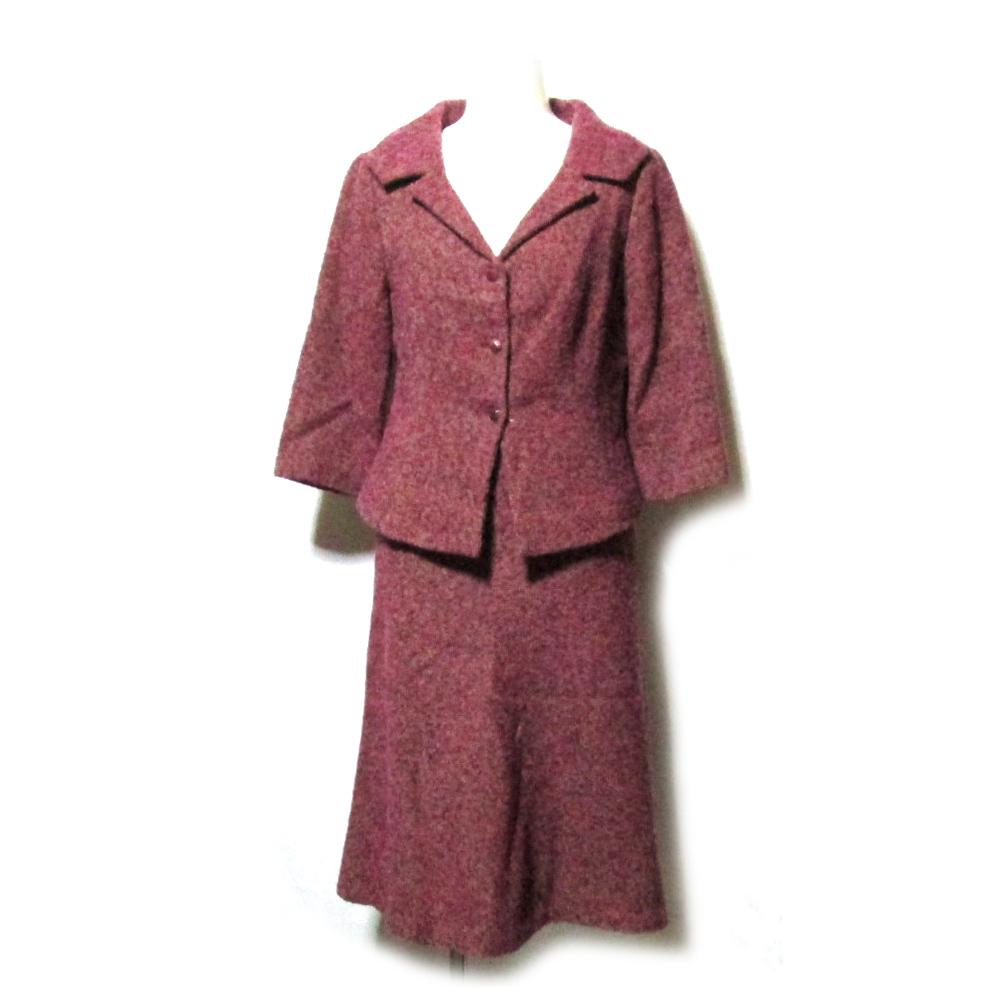 美品 Sybilla シビラ 「M」 クラシックツイードセットアップスーツ (ピンク スカート ジャケット) 117625 【中古】