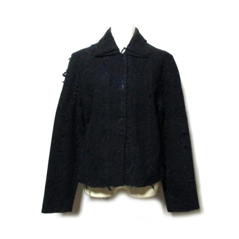 YAO SOUKA ヤオスーカ 「38」 フランス製 圧縮縮絨デザインジャケット (黒 ウール H.P.FRANCE アッシュペーフランス) 117899 【中古】
