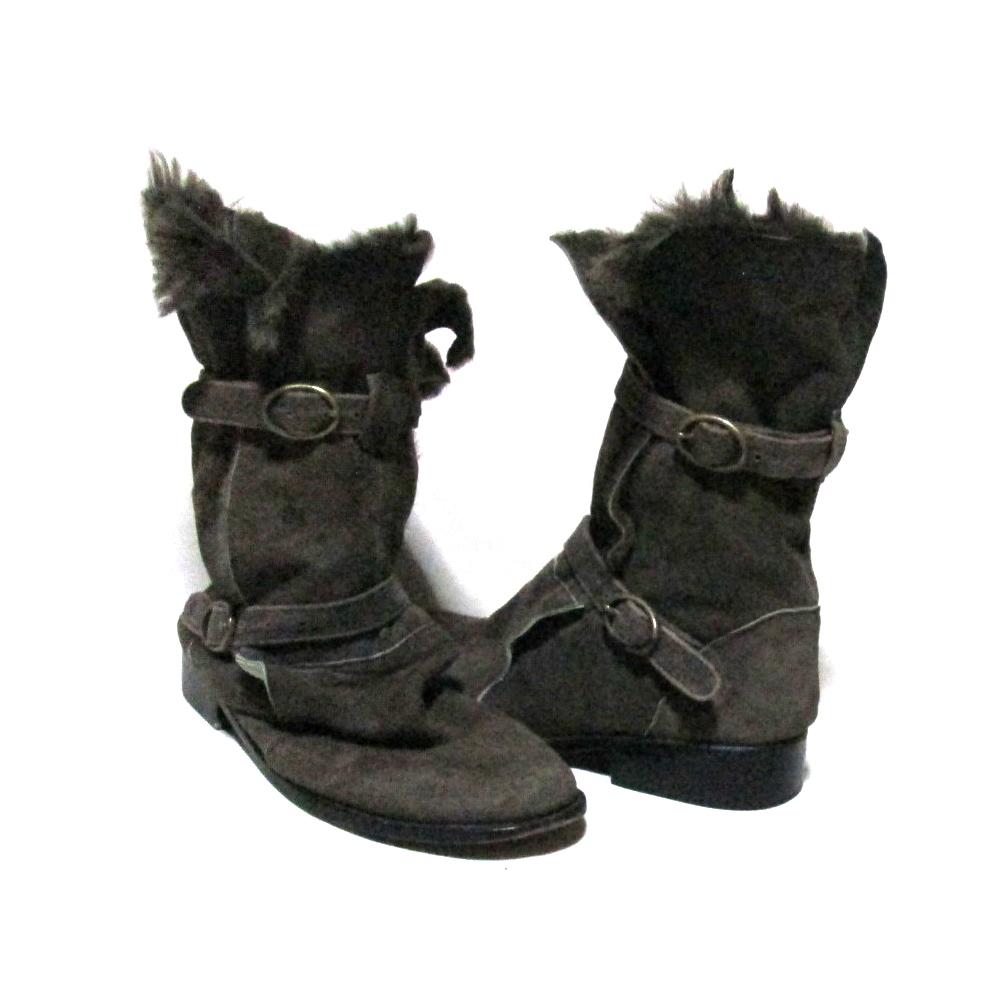 SHARE SPIRIT シェアースピリット 「M」 ムートンレザーボンテージブーツ (靴 シューズ 革 皮 ブラウン) 118078 【中古】