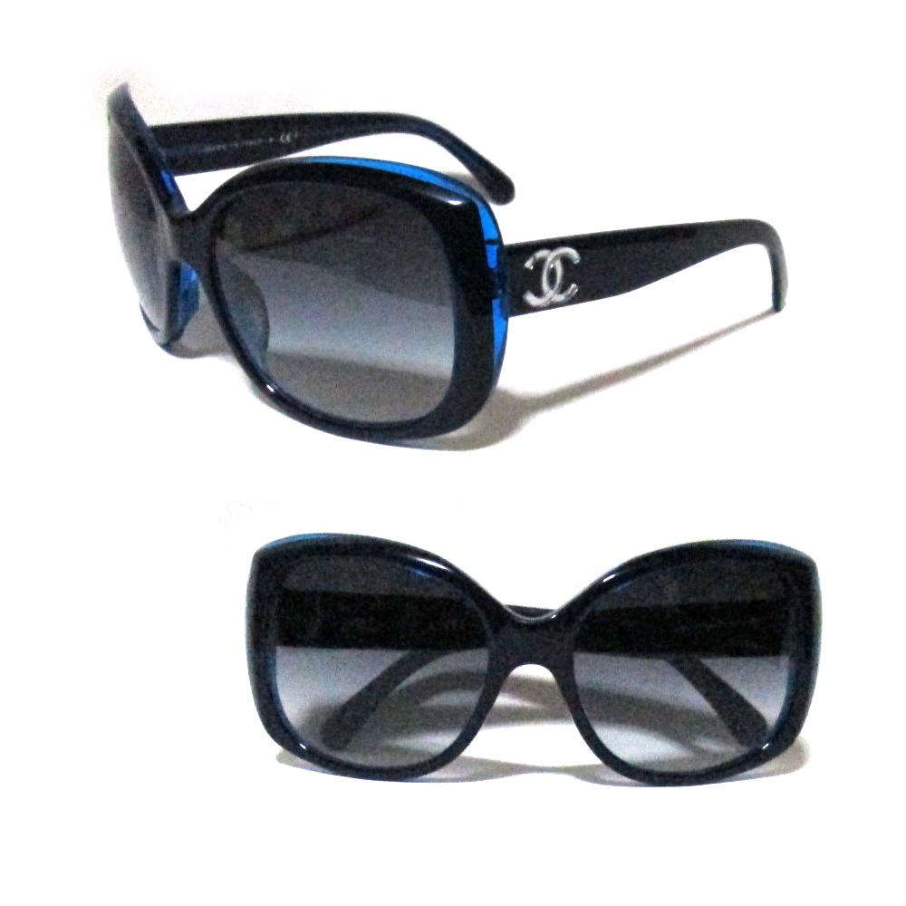 CHANEL シャネル イタリア製 ワイドフレームサングラス (パープル 眼鏡 ケース 箱付) 118087 【中古】