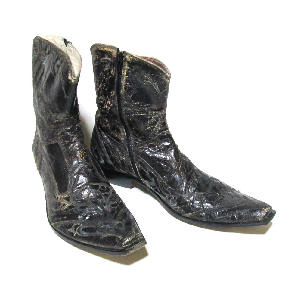 Jo Ghost ジョーゴースト 「41」 イタリア製 クラックレザーブーツ (黒 ブラック 皮 革 靴) 118243 【中古】