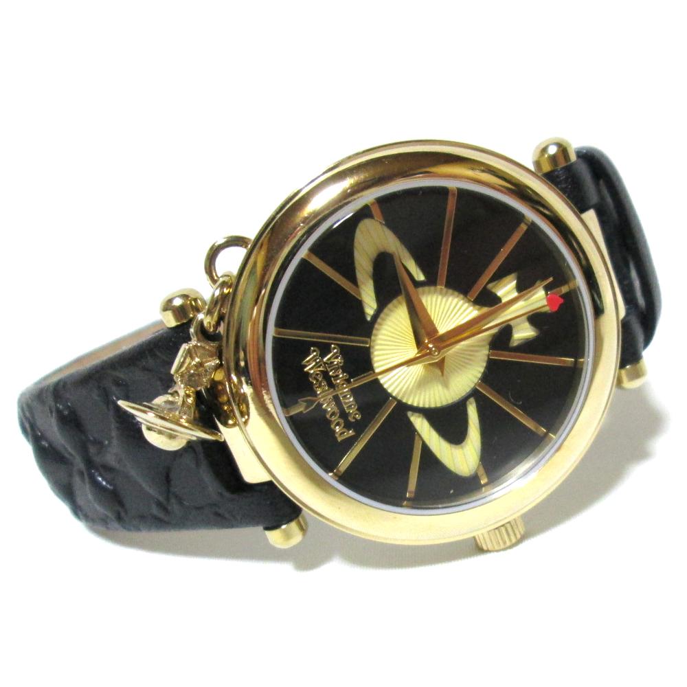 廃盤 Vivienne Westwood ヴィヴィアンウエストウッド スイス製 オーブチャームウォッチ 腕時計 (黒 金 ゴールド ORB ) 118951 【中古】