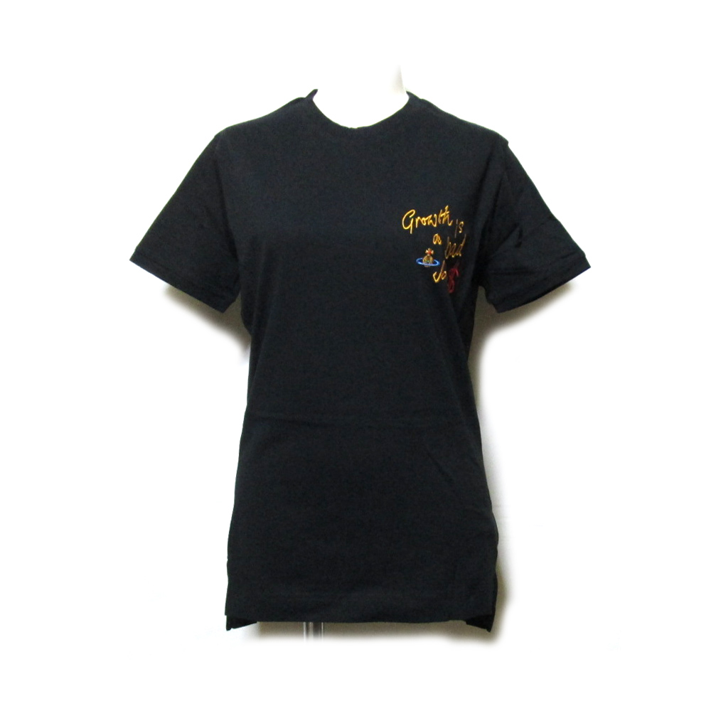 【新古品】 Vivienne Westwood ヴィヴィアンウエストウッド 「S」 Growth is a bad Joke$ オーブTシャツ (黒 半袖 ブラック オーブ ORB) 119083 【中古】