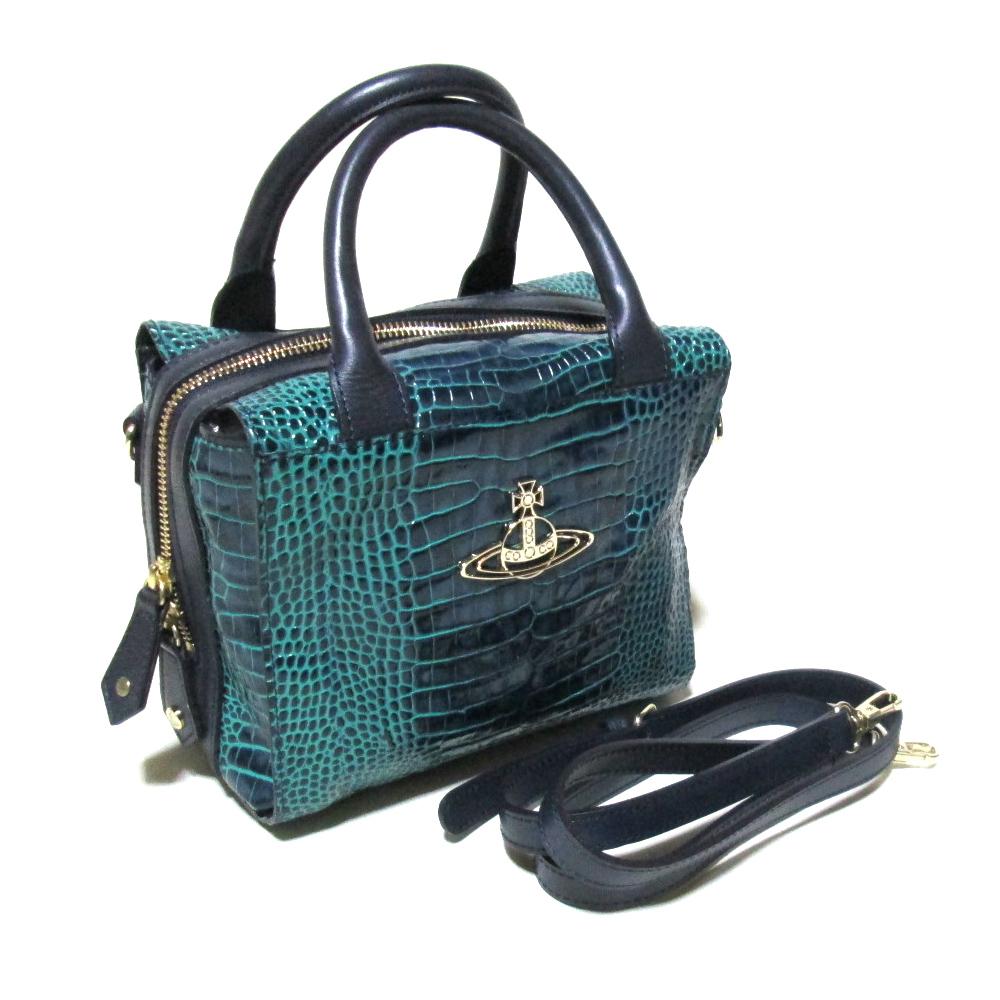 美品 Vivienne Westwood ヴィヴィアンウエストウッド ゴールドオーブパイソンレザー2wayバッグ (ORB ハンドバッグ ショルダーバッグ 鞄) 119133 【中古】