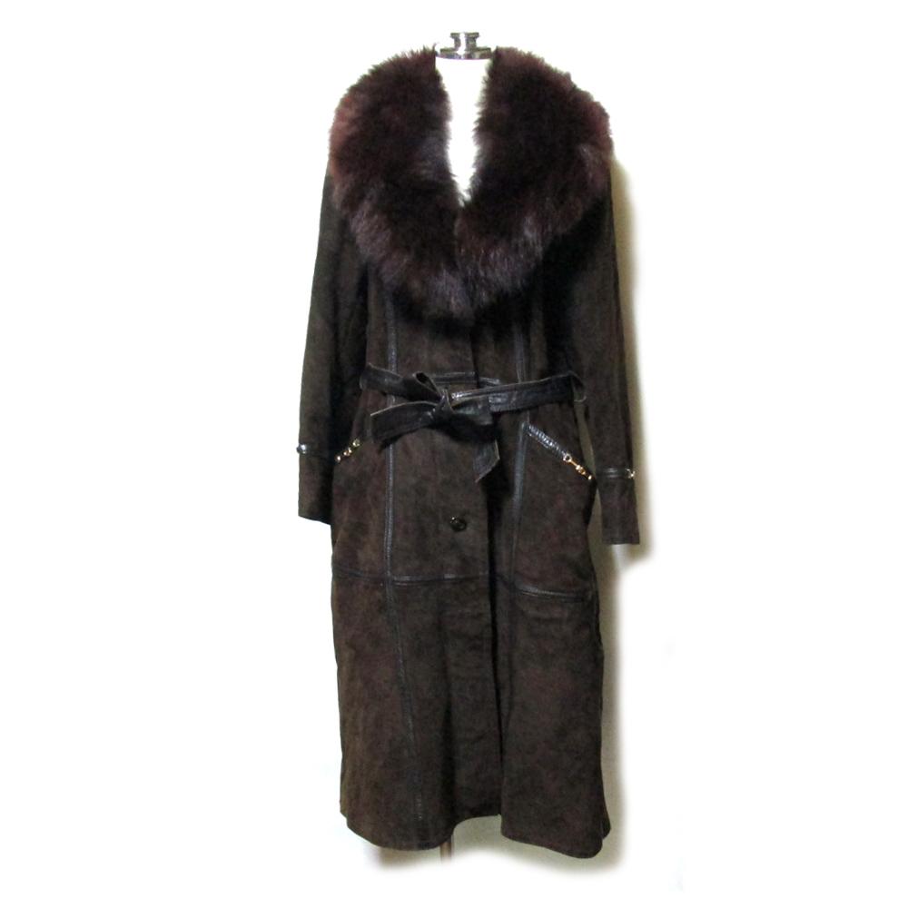美品 T-K-fur ツカキ 「13」 アフリカ産スエードラムレザー×フォックスファーコート (青狐 毛皮 革 皮 ジャケット ブラウン) 119194 【中古】