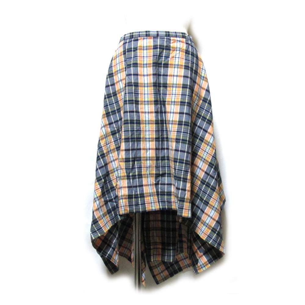 Anglomania Vivienne Westwood アングロマニア ヴィヴィアンウエストウッド 「42」 イタリア製 タータンチェックワイドラップスカート (黄色 インポート 巻きスカート) 119452 【中古】
