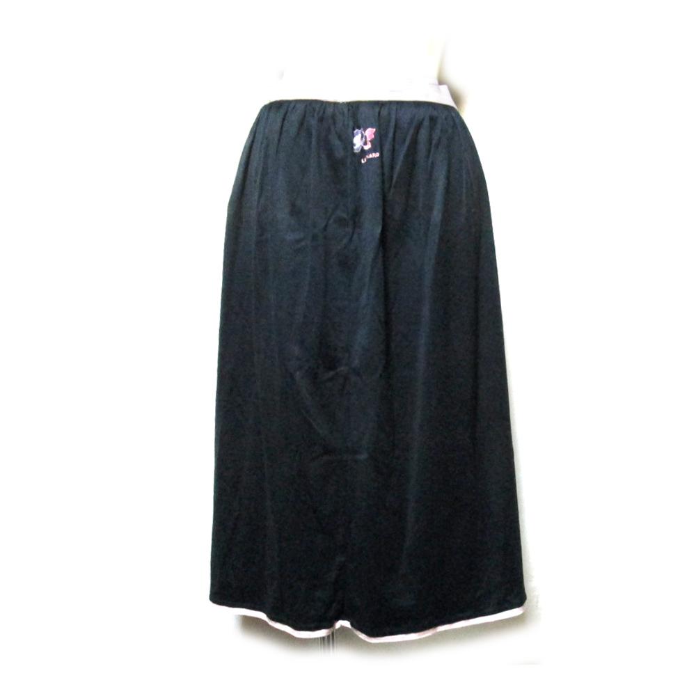 LEONARD レオナール コットンドレープスカート (黒 ブラック テキスタイル ファブリック) 119546 【中古】