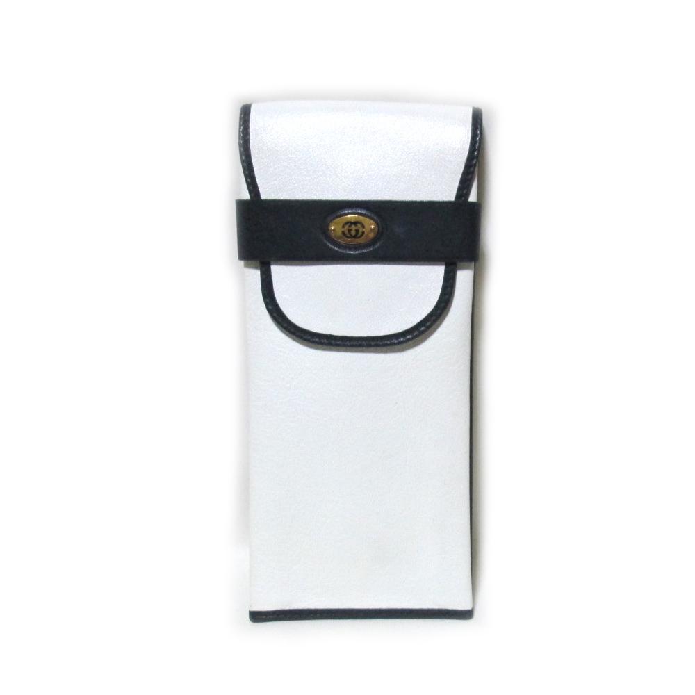 Vintage old GUCCI ヴィンテージオールド グッチ イタリア製 レザーペンケース (白 革 皮) 119568 【中古】