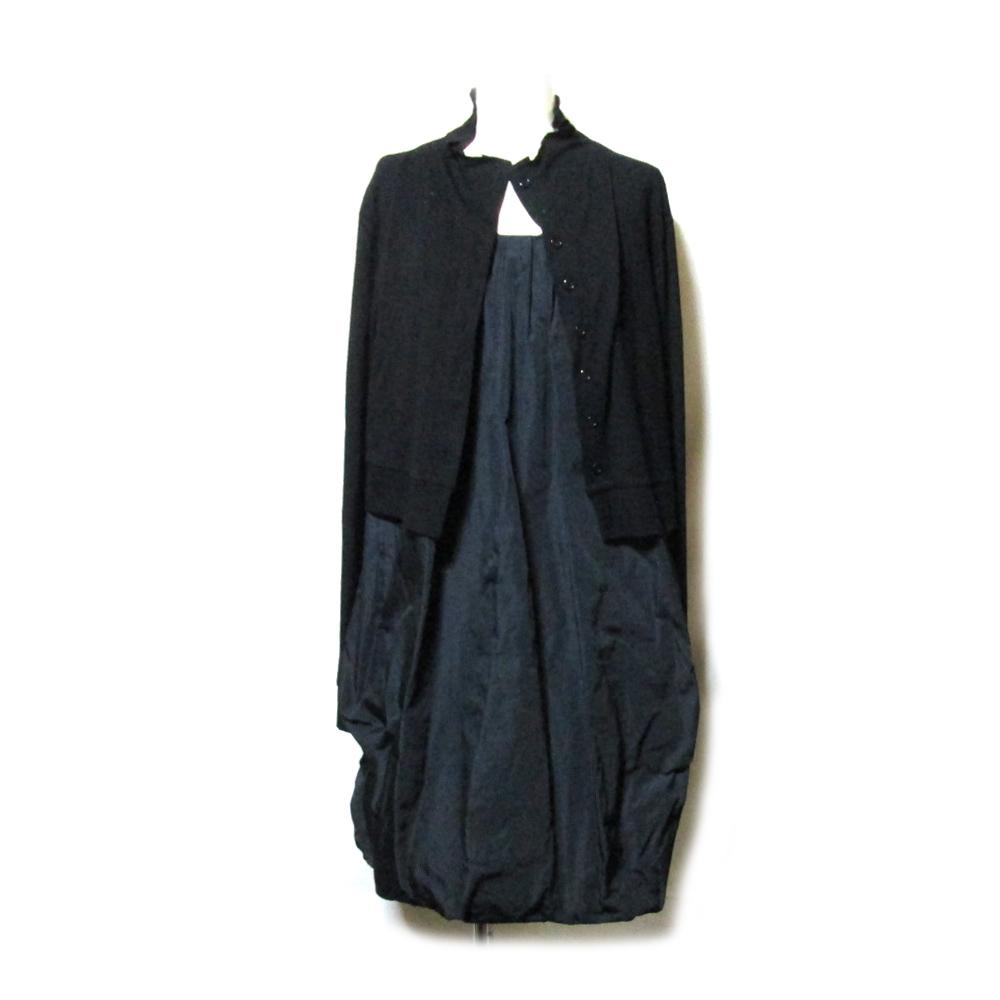 美品 NUOVO BORGO ヌーヴォ ボルゴ 「48」 イタリア製 レイヤードバルーンワンピース (黒 ドレス) 119652 【中古】