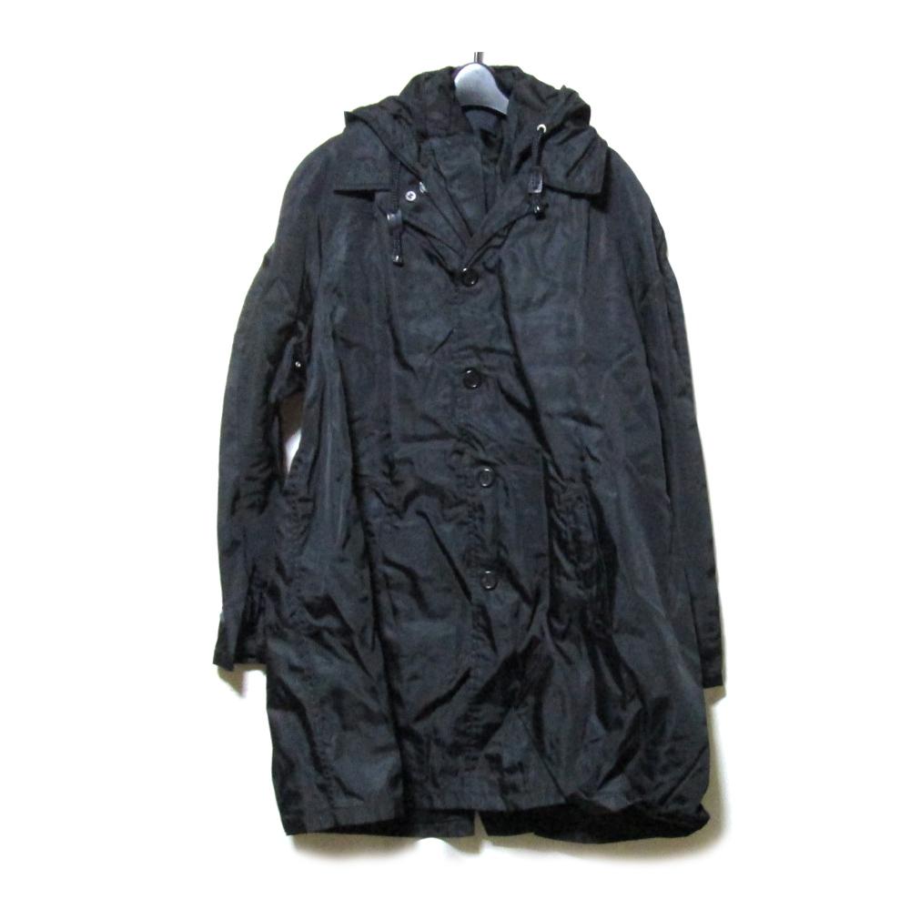 PRADA プラダ 「M」 イタリア製 2wayナイロンコート.フード付ベスト (黒 ブラック ジャケット 2点セット) 119813 【中古】