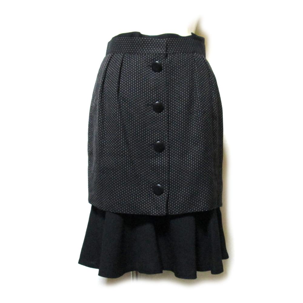 美品 Vintage old Christian Dior ヴィンテージ オールド クリスチャンディオール レイヤードデザインスカート (黒 ドット 水玉) 120170 【中古】