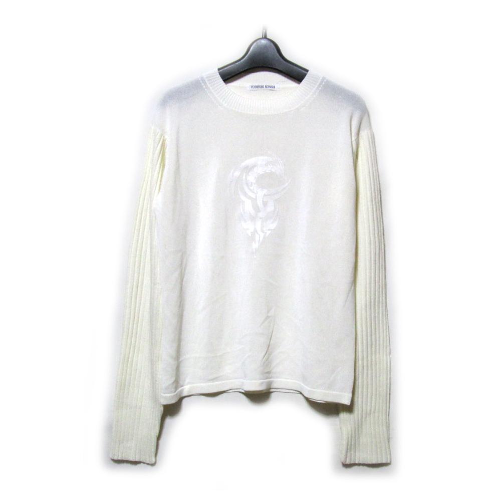 Vintage YOSHIYUKI KONISHI ヴィンテージ ヨシユキ コニシ ドラゴンエンブレムニットセーター ( ホワイト 白 袖切り替え ドン小西) 120287 【中古】