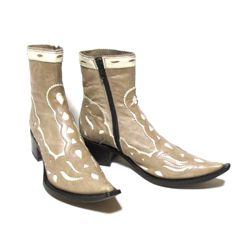 美品 gianni barbato ジャンニバルバート 「35」 イタリア製 ウエスタンレザーブーツ (ブラウン 皮 革 靴 ) 120322 【中古】