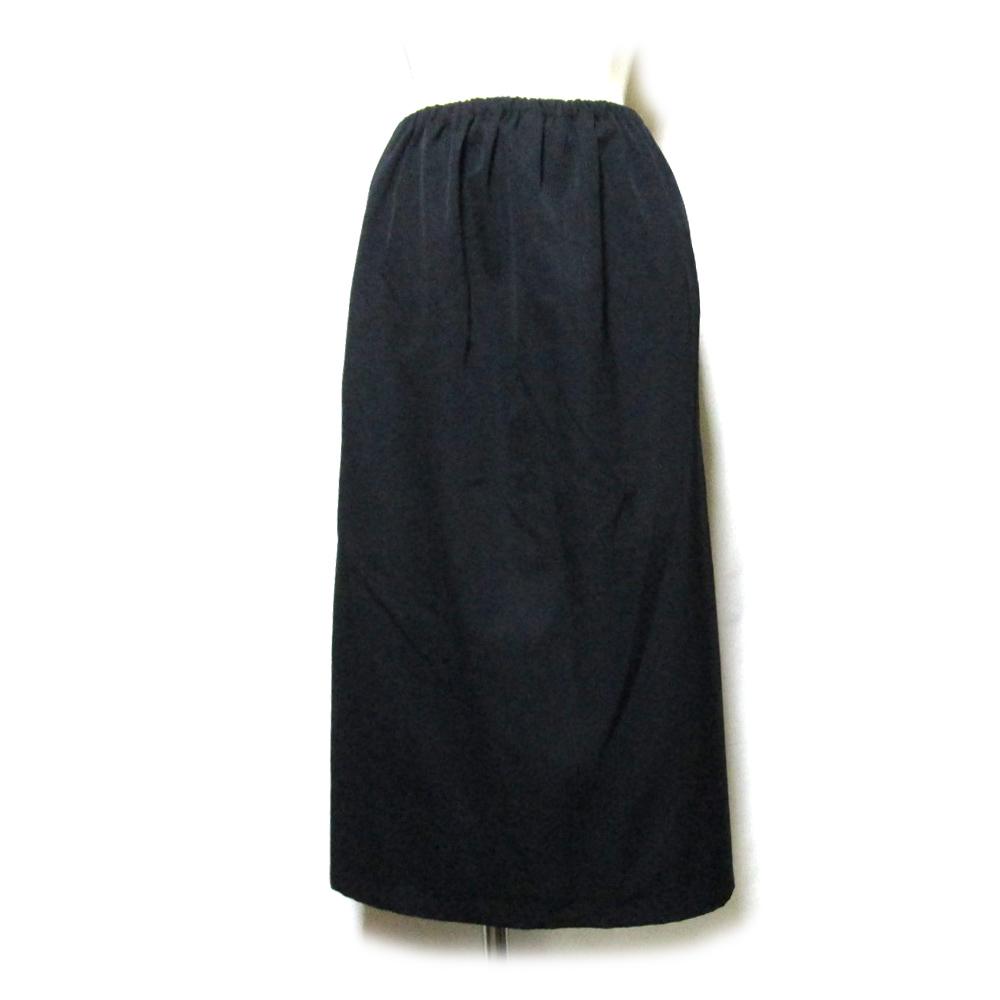 Yohji Yamamoto ヨウジヤマモト 「S」 ギャバジンワイドシルエットスカート (黒 ブラック 山本耀司 Yohji Yamamoto ヨウジヤマモト) 120403 【中古】
