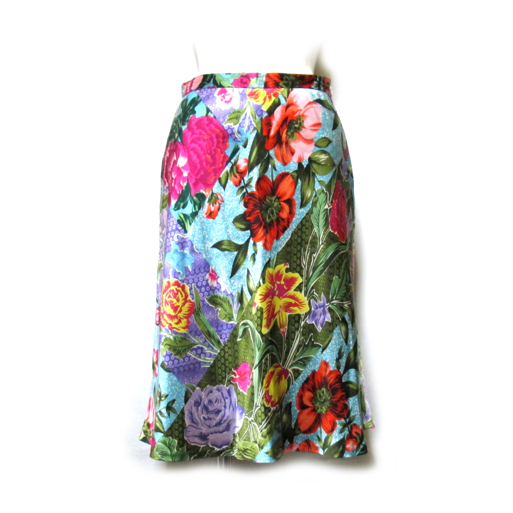 美品 Vintage KENZO ヴィンテージ ケンゾー 「38」 イタリア製 フラワーパターンシルクスカート (花柄 絹100% インポート) 120415 【中古】