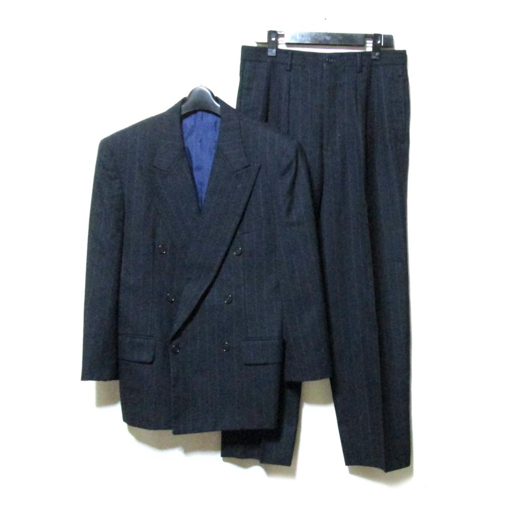 Vintage ATELIER SAB for men ヴィンテージ アトリエサブフォーメン 「S」 2B ピンストライプダブルブレスセットアップスーツ (紺 ネイビー 定番 ボックスシルエット アヴァンギャルド ) 120441 【中古】