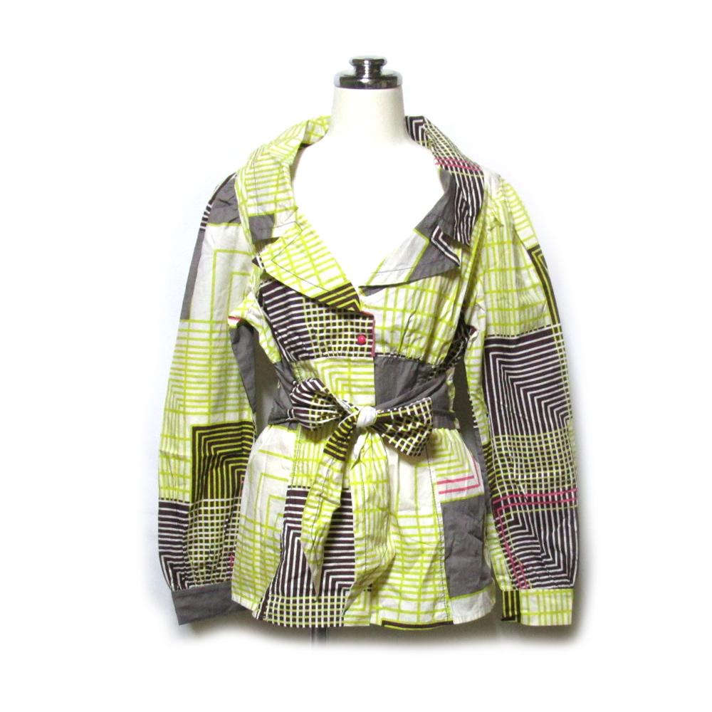 美品 KENZO ケンゾー ミッドセンチュリーパターンリボンシャツジャケット (ブラウス カットソー 高田賢三) 120549 【中古】