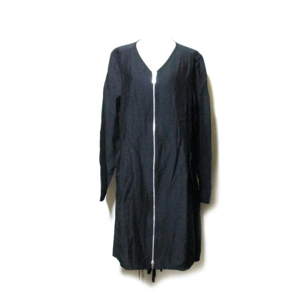 美品 pour deux プルドゥ 「1」 フルジップマオカラーコート (黒 ブラック ジャケット ユニセックス) 120551 【中古】