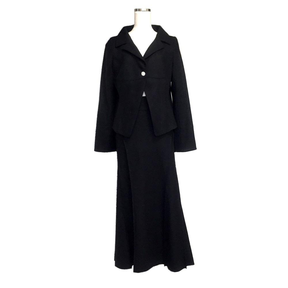 PRIDE プライド 宝飾ボタンロングセットアップスーツ (黒 ウール スカート マキシ丈) 120604 【中古】