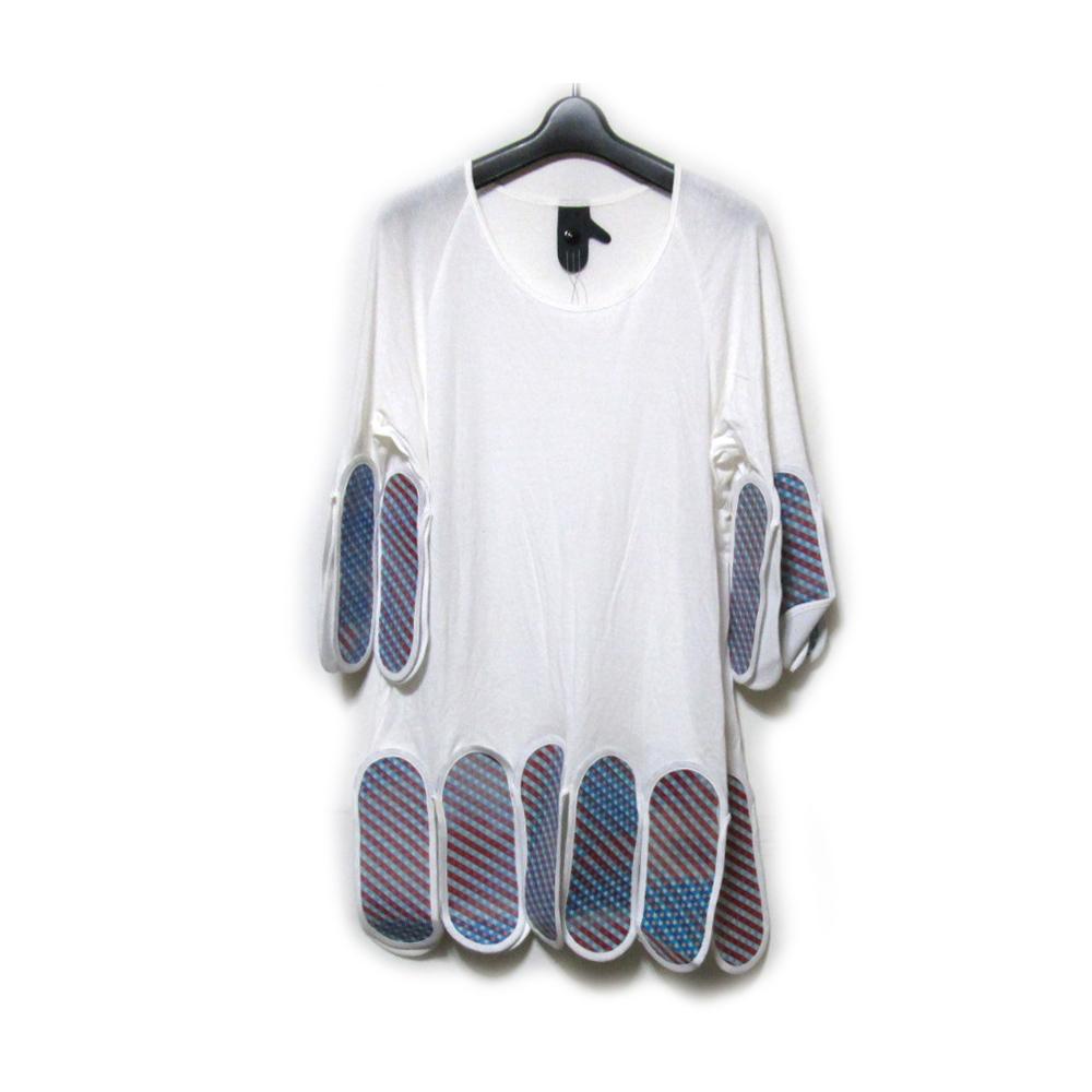 Bernhard Willhelm ベルンハルト ウィルヘルム 「S」 パネルデザインTシャツ (白 ユニセックス カットソー) 121277 【中古】