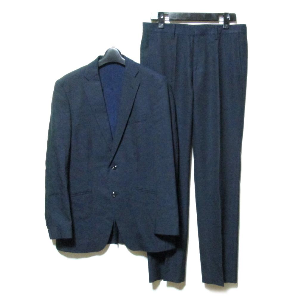MONSIEUR NICOLE ムッシュニコル 「46」 2B ピンストライプセットアップスーツ (紺 ネイビー 背あり) 121632 【中古】
