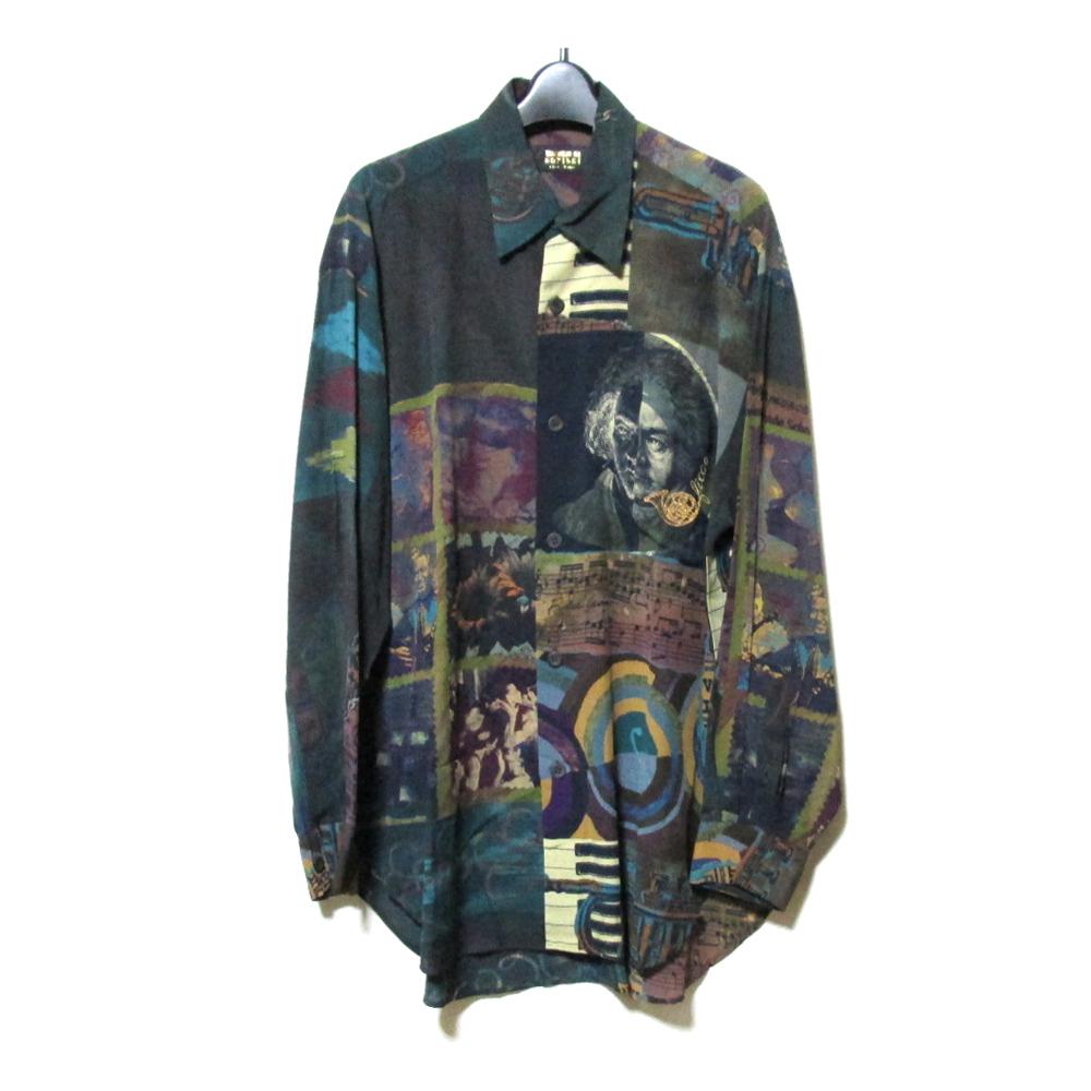 美品 Vintage ficce YOSHIYUKI KONISHI ヴィンテージ  フィッチェ ヨシユキコニシ ワイドシルエット音楽デザインシャツ (ドン小西 小西良幸 ビッグシルエット) 121644 【中古】