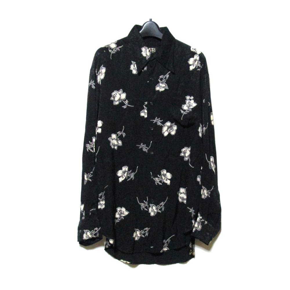 美品 Vintage ficce YOSHIYUKI KONISHI ヴィンテージ  フィッチェ ヨシユキコニシ ワイドシルエットフラワーデザインシャツ (ドン小西 小西良幸 ビッグシルエット 黒 花柄) 121645 【中古】