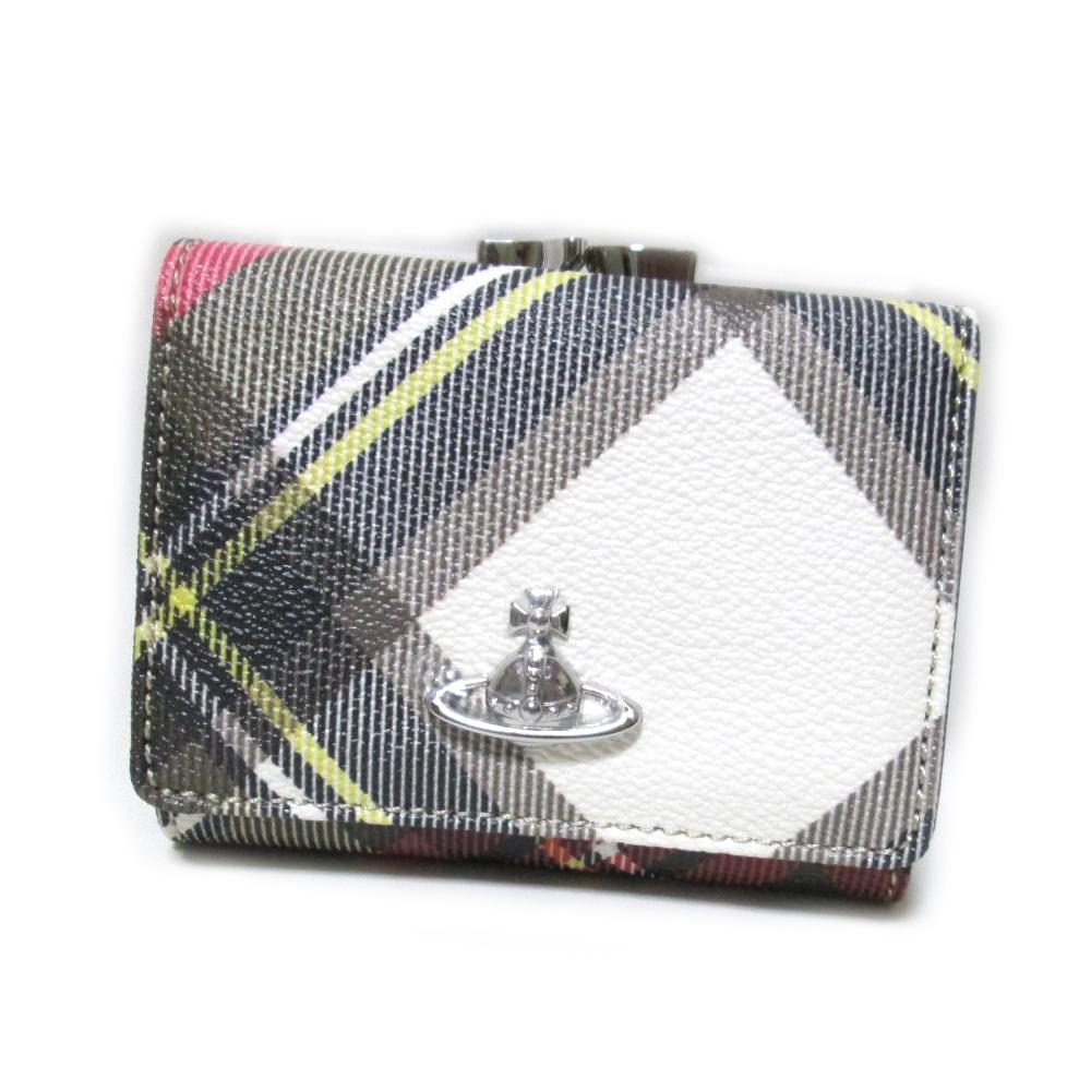 【新古品】 Vivienne Westwood ヴィヴィアンウエストウッド ダービータータンチェックスモールレザーウオレット.折財布 (赤 レッド 皮 革 ORB オーブ 3つ折財布) 122126 【中古】