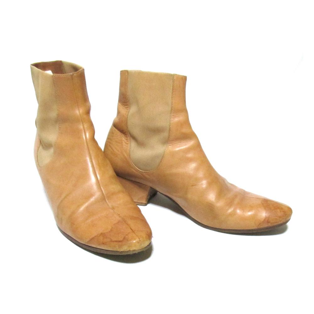 \3980以上購入で 送料無料 Maison Martin Margiela 22 モデル着用 注目アイテム メゾン マルタンマルジェラ 122141 中古 ベージュ ナチュラルレザーサイドゴアブーツ 38 返品送料無料 靴 皮 革