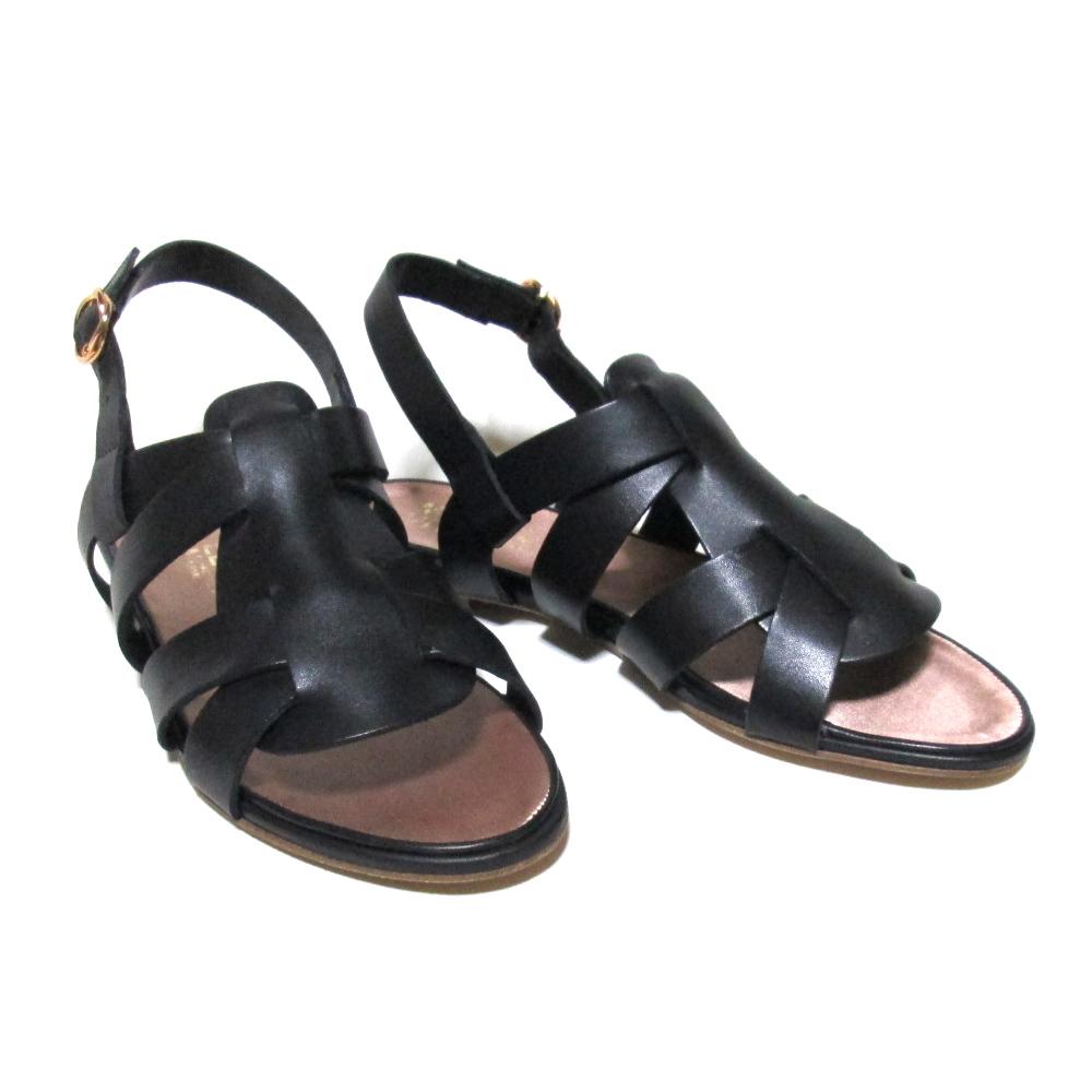 【新古品】 MICHEL VIVIEN ミッシェル ヴィヴィアン 「37」 ベルトレザーサンダル (黒 靴 皮 革 パンプス シューズ) 122143 【中古】