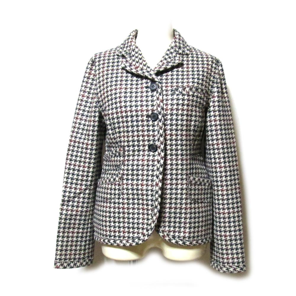 美品 miu miu ミュウミュウ 「38」 イタリア製 ツイードウールジャケット (グレー) 122663 【中古】