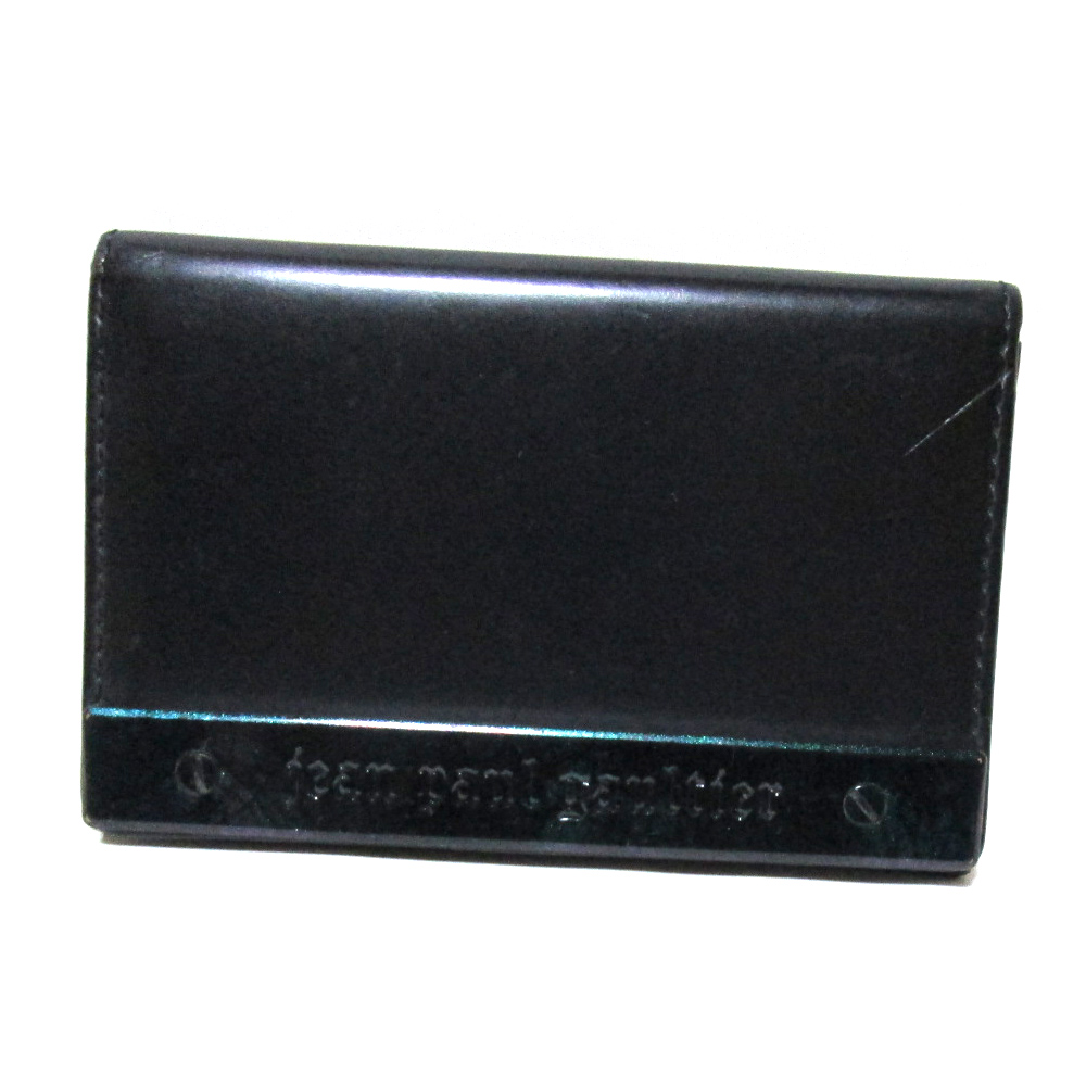 廃盤 Jean Paul GAULTIER ジャンポールゴルチエ メタルプレートレザーパスケース.カードケース (黒 皮 革 名刺入れ) 122772 【中古】